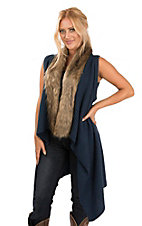 Ariat Women's Blue Crochet with Fur Trim Sweater Vest