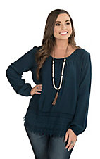 Ariat Women's Navy Tunic with Crochet Lace Trim and Long Cinched Sleeves Fashion Top
