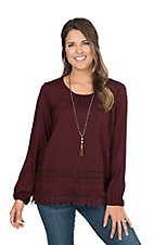 Ariat Women's Maroon Tunic with Crochet Lace Trim and Long Cinched Sleeves Fashion Top