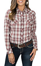 Ariat Women's Red and Metallic Plaid with Yokes Long Sleeve Western Snap Shirt