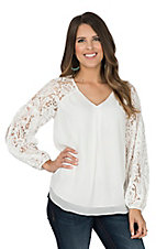 Ariat Women's White with Lace Yoke Long Sleeves Fashion Top