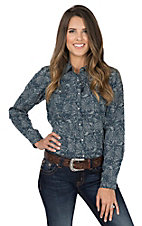 Ariat Women's Navy Blue Paisley Print with Yokes Long Sleeve Western Snap Shirt