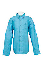 Ariat Boy's Light Blue Caidan Print Cavender's Exclusive Long Sleeve Western Shirt