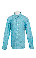 Ariat Boy's Houston Light Blue Miracle Grow Print Cavender's Exclusive Long Sleeve Western Shirt
