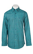 Ariat Men's Cavender's Exclusive Chuck Teal Medallion Print L/S Western Shirt