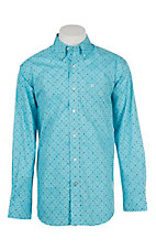 Ariat Men's Houston Light Blue Miracle Grow Print Cavender's Exclusive Long Sleeve Western Shirt