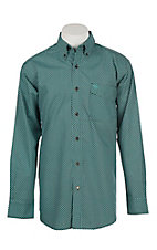 Ariat Men's Mint and Brown Jonah Print Cavender's Exclusive Long Sleeve Western Shirt