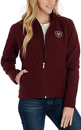 Ariat Women's Maroon with Tan Logo Team Softshell Jacket - Cavender's Exclusive