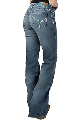 Ariat Light Wash Trouser Baseball Stitch Jeans