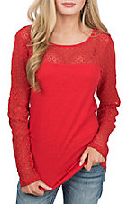 Ariat Women's Red Jocelyn Lace Sleeve Casual Knit Shirt