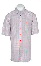 Ariat Men's White, Orange and Blue Dryden S/S Western Shirt