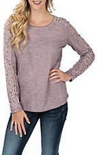 Ariat Women's Purple Romina Lace Knit L/S Casual Knit Shirt