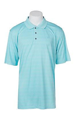 Ariat Men's Blue Radiance Turquoise Fade Stripe Heat Series Tek Polo Shirt