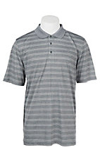 Ariat Men's Blue Steel Grey Fade Stripe Heat Series Tek Polo Shirt