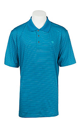 Ariat Men's Mykonos Blue Fade Stripe Heat Series Tek Polo Shirt