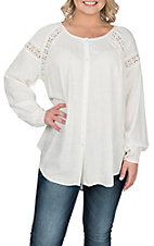 Ariat Women's Heather White with Lace Button Down Long Sleeve Fashion Top
