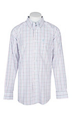 Ariat Men's White Grid Print Jaiden Shirt L/S Wrinkle Free Western Shirt