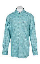 Ariat Men's Ice Aqua Jeffrey Shirt L/S Wrinkle Free Western Shirt