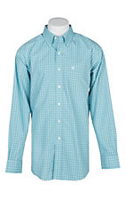 Ariat Men's Ice Aqua Windowpane Julian Shirt L/S Wrinkle Free Western Shirt