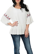 Ariat Women's White Aria w/ Embroidery Fashion Shirt