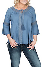 Ariat Women's Blue Marla Lace Scallop Fashion Shirt