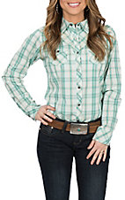 Ariat Women's REAL Strong Green Plaid & Embroidery L/S Western Snap Shirt