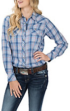 Ariat Women's REAL True Blue and Red Plaid L/S Western Snap Shirt