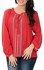 Ariat Women's Red Shawna Embroidered Peasant Fashion Shirt