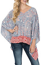Ariat Women's Blue and Red Tarin Floral Print Tunic Fashion Shirt
