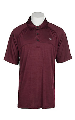 Ariat Men's Charger Maroon Heat Series Polo Shirt