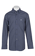 Ariat Pro Series Navy Dotson Checker Print L/S Western Shirt