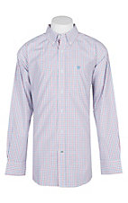 Ariat Pro Series White, Red and Blue Fitted Chapman Brandy Checker Print L/S Western Shirt
