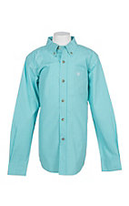 Ariat Pro Series Boys Seafoam Hydrous Edinburg Mini Plaid L/S Western Shirt