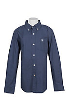 Ariat Boys' Navy Elliot Polka Dot Print L/S Western Shirt