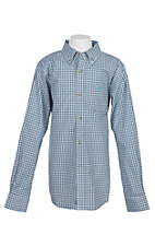 Ariat Pro Series Boys White Farron Plaid L/S Western Shirt