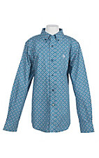 Ariat Boys' Azure Thistle Fayd Print L/S Western Shirt