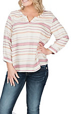 Ariat Women's Gratified Jacquard Stripe 3/4 Sleeve Fashion Shirt