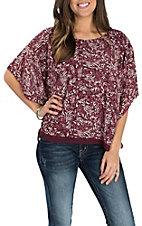 Ariat Women's Maroon Jessa Leopard Print Flowy Fashion Shirt