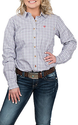 Ariat Women's Marion Purple Plaid Flame Resistant Work Shirt