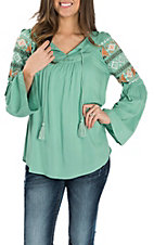 Ariat Women's Seafoam Julietta w/ Embroidery & Bell Sleeves Fashion Shirt