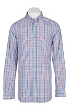 Ariat Pro Series Blue and Orange Finman Gingham L/S Western Shirt