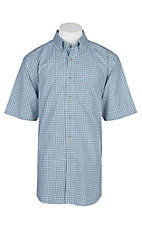 Ariat Pro Series White and Blue Farrow Plaid S/S Western Shirt