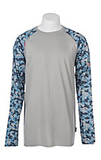 Ariat Men's Grey with Navy/Digi Camo Crew L/S Flame Resistant Work Shirt