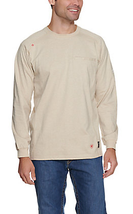 Ariat Men's Sand Air Crew Long Sleeve FR Work Shirt
