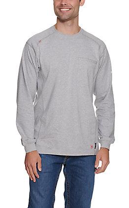 Ariat Men's Heather Silver Fox Air Crew Long Sleeve Flame Resistant Work Shirt - Big & Tall