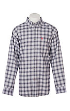 Ariat Men's Mclean Navy Ombre Plaid L/S Work Shirt