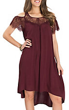 Ariat Women's Burgundy Michelle Cold Shoulder Hi-Low Dress