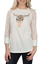 Ariat Women's White Taken Skull Foil with Lace Sleeve Casual Knit Shirt