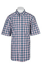 Ariat Pro Series Red, White and Blue Gerald Plaid S/S Western Shirt