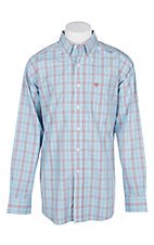 Ariat Men's Blue Sky Plaid Kai Shirt L/S Wrinkle Free Western Shirt